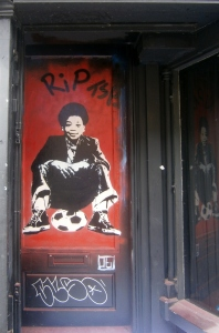 One of the tributes painted yesterday by Tee Wat. This one is at Monty's in Brick Lane, Terry's favourite bar.
